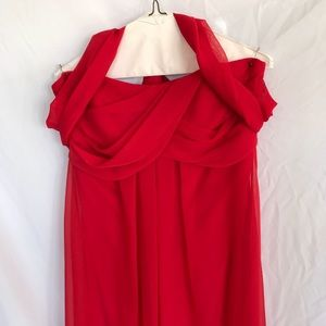 Red chiffon strapless or halter long dress size 12